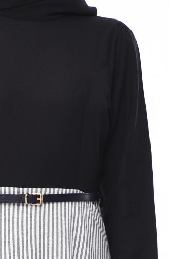 Çizgili Krep Elbise 8139-01 Siyah