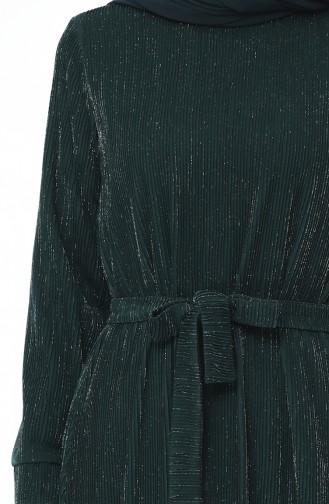 Robe Froncée a Ceinture 2246-03 Vert emeraude 2246-03