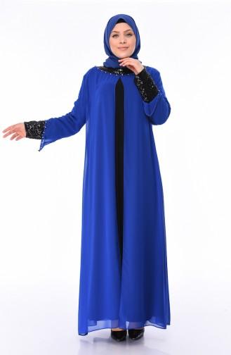 Robe de Soirée à Paillettes Grande Taille 6056-03 Bleu Roi 6056-03