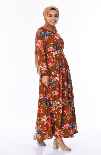 Çiçek Desenli Kemerli Elbise 0671-03 Taba