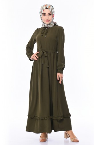 Gerafftes Kleid mit Band 2025-04 Khaki 2025-04