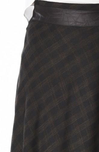 Leder Glockenrock mit Patchwork 4107-01 Khaki 4107-01