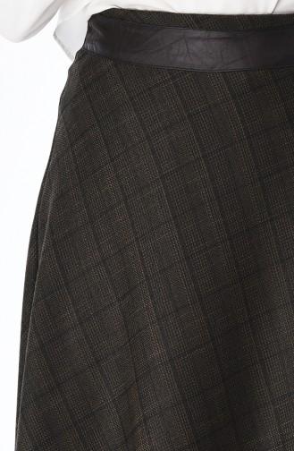 Jupe Détail Cuir 4108-02 Khaki 4108-02