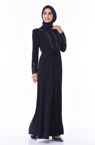Simli Biyeli Elbise 8152-03 Lacivert