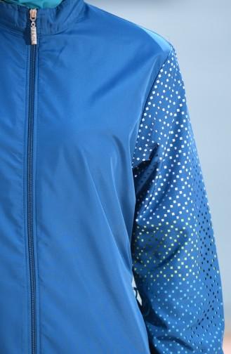 ملابس سباحة للمحجبات بتصميم سحاب 350-03 لون بترولي 350-03