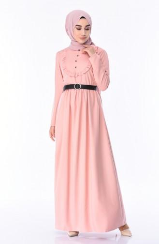 فستان بتفاصيل من الكشكش 8140-07 لون وردي 8140-07