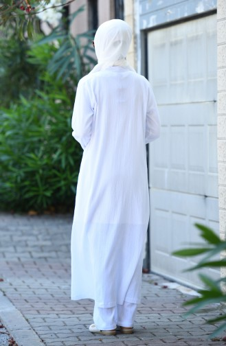 Şile Bezi Kap Pantolon İkili Takım 26224-06 Beyaz