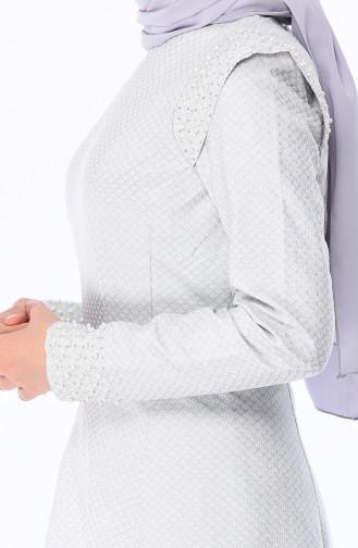 Gray Islamic Clothing Evening Dress 9083-01