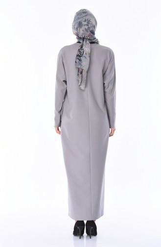 Tasche Detailliertes Kleid 0246-11 Grau 0246-11