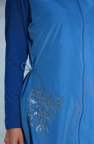 Maillot de Bain Hijab Détail Paillettes 366-03 Pétrol 366-03
