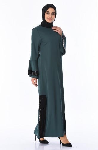 Abaya a Paillettes 0012-05 Vert emeraude 0012-05