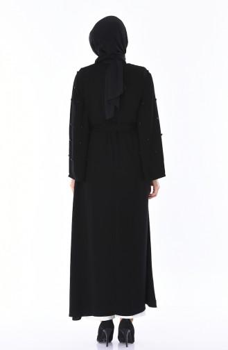 Abaya Perlées 7837-01 Noir 7837-01