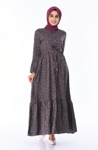 Gemustertes Gerafftes Kleid 0010B-02 Grau 0010B-02