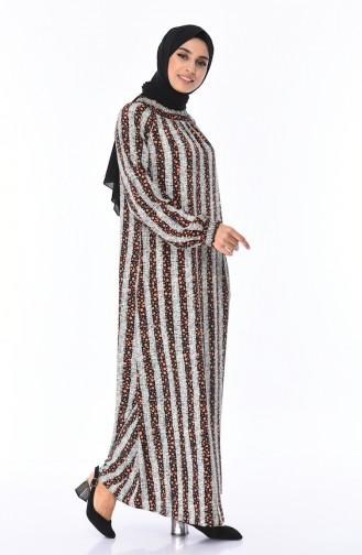 Robe à Motifs Manches élastique 0080-02 Brique 0080-02