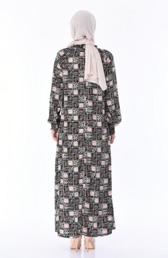 Robe a Motifs Manches élastique 0080A-01 Noir 0080A-01
