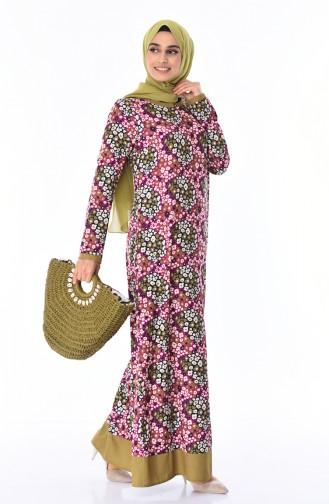 Gemustertes Sommerliches Kleid 7Y3718700-02 Fuchsia 7Y3718700-02