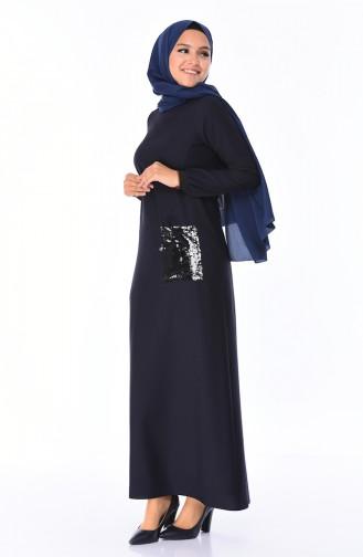Navy Blue Dress 0244B-06