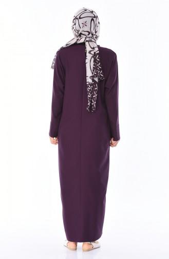 Cep Detaylı Elbise 0246-02 Mor