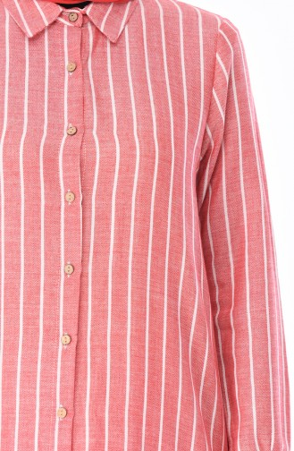 Çizgili Tunik 5419-03 Kırmızı