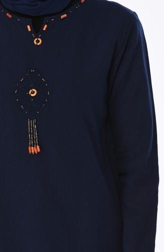 Boncuk İşlemeli Şile Bezi Uzun Tunik 22204-02 Lacivert