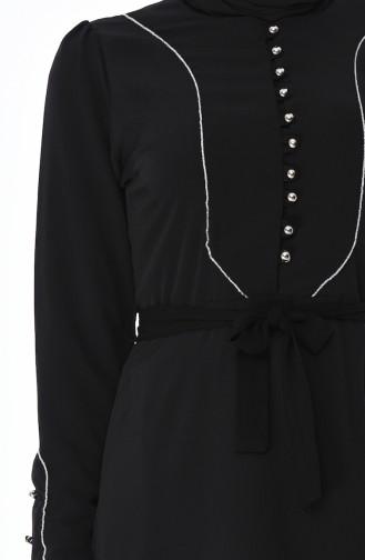 Simli Biyeli Elbise 8152-06 Siyah