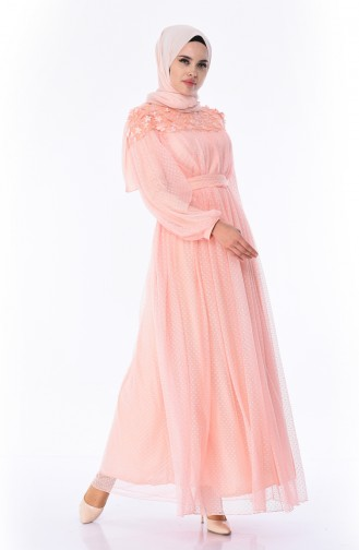 Salmon Islamic Clothing Evening Dress 5070-01