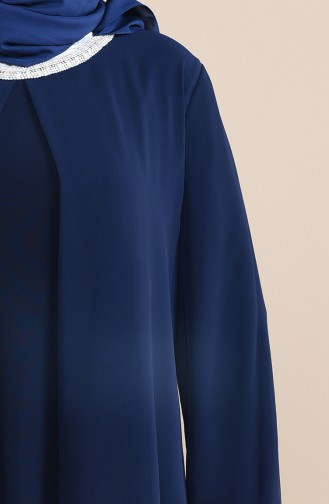 Navy Blue Islamic Clothing Evening Dress 2422-03