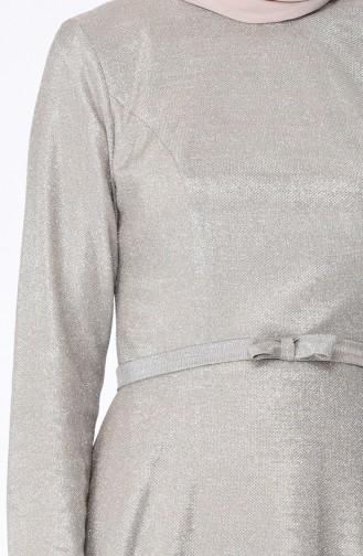 Robe de Soirée a Ceinture et Paillettes 9006-03 Beige 9006-03