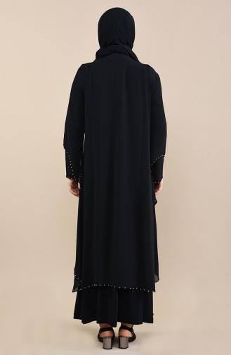 Büyük Beden İncili Abiye Elbise 3146-01 Siyah