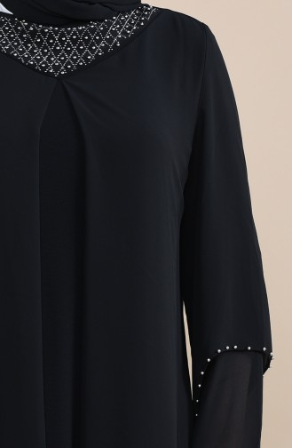 Robe de Soirée Perlées Grande Taille 3146-01 Noir 3146-01