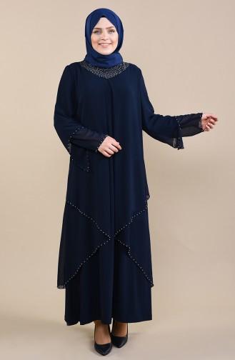 Dunkelblau Hijab-Abendkleider 3146-04