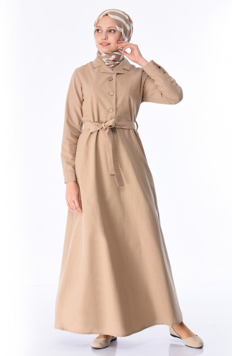 Kuşaklı Keten Elbise 2001-02 Vizon