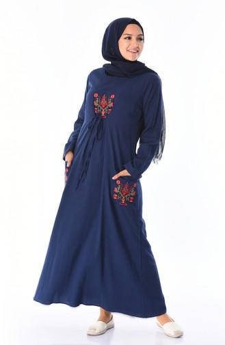 Cepli Şile Bezi Elbise 22205-04 Lacivert