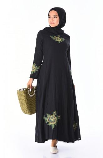 Nakışlı Şile Bezi Elbise 22210-05 Siyah