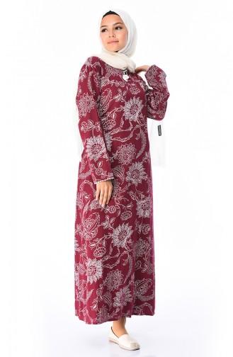 Bedrucktes Şile-Stoff Kleid 32201-01 Weinrot 32201-01