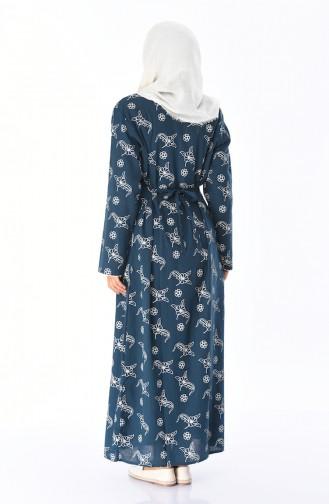 Bedrucktes Kleid aus Şile-Stoff 32201A-03 Petroleum 32201A-03