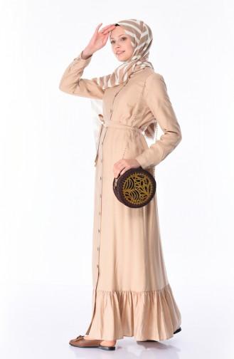 Boydan Düğmeli Kuşaklı Elbise 1030-04 Bej