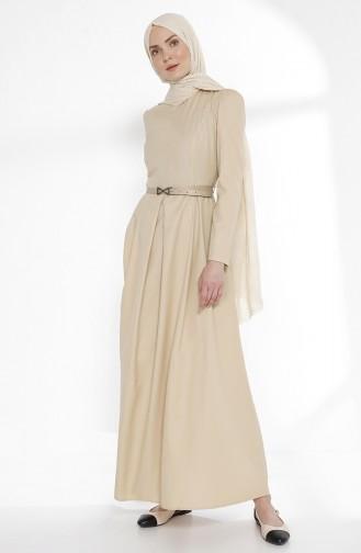 Belted Dress 3159-15 Beige 3159-15