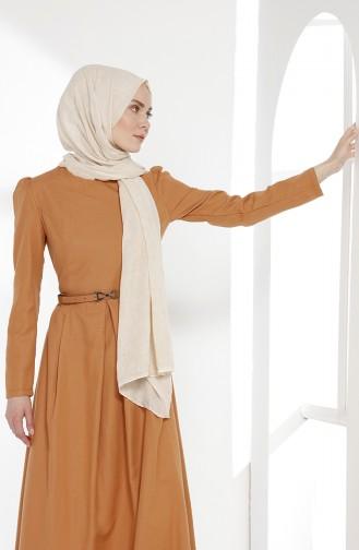 توبانور فستان بتصميم حزام للخصر 2781-17 لون بيج مائل للمشمشي 2781-17