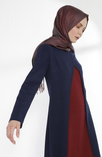 TUBANUR Suit Looking Dress 2895-21 Navy Blue Claret Red 2895-21
