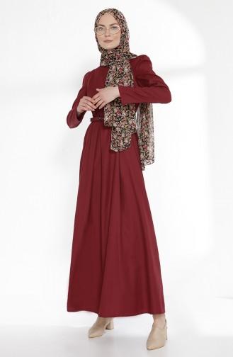 Kemerli Elbise 2781-05 Bordo