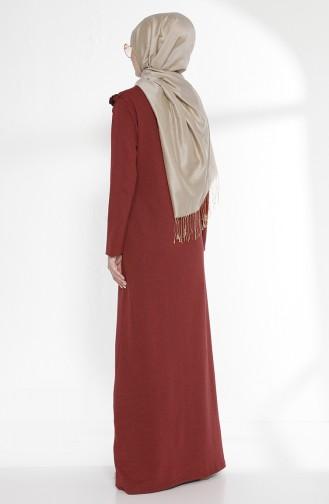 Fırfırlı Elbise 2992-04 Bordo