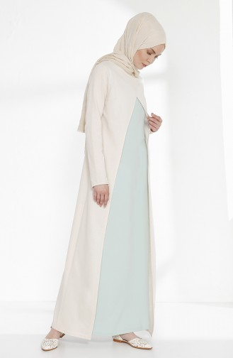 Two Thread Dress with Suit Look 3158-11 Ecru Almond Green 3158-11