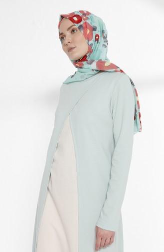 Takım Görünümlü İki İplik Elbise 3158-16 Yeşil Ekru