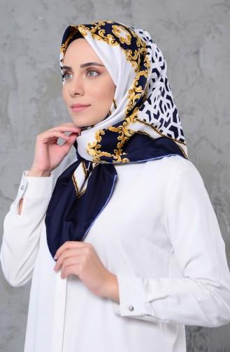 Zincir Desenli Twill Eşarp 2303-09 Lacivert