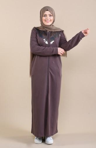 Büyük Beden Payetli Ferace 10006-01 Kahverengi