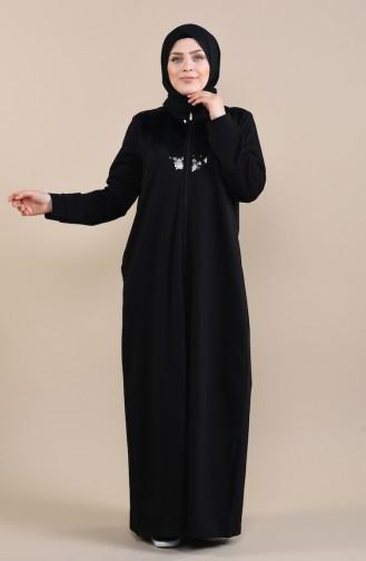 Büyük Beden Payetli Ferace 10006-02 Siyah