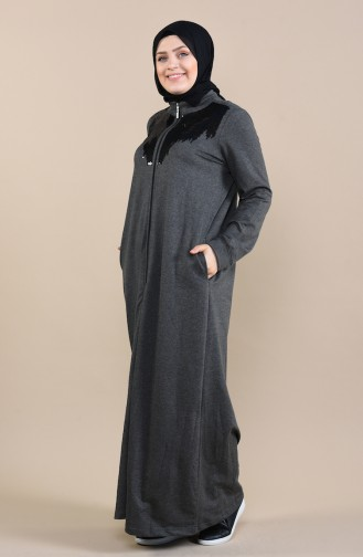 Abaya a Paillettes Grande Taille 10006-04 Antracite 10006-04