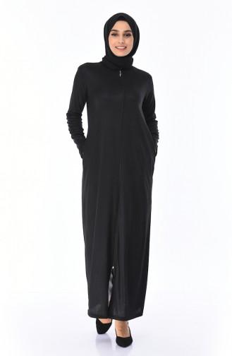 Fermuarlı Ferace 3000-01 Siyah