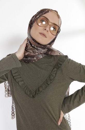 توبانور فستان بتفاصيل من الكشكش 2992-06 لون اخضر كاكي 2992-06